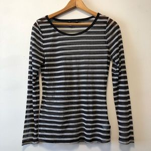 90s Style Sheer Mesh Striped Long Sleeve Top